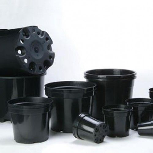 Round Black Plant Pots Group